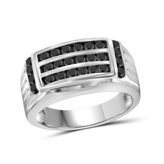 Jewelonfire Sterling Silver Men's 1.00ct TDW Black Diamond 3-Row Fashion Ring