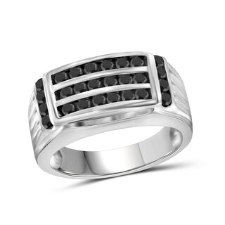 Jewelonfire Sterling Silver Men's 1.00ct TDW Black Diamond 3-Row Fashion Ring - White