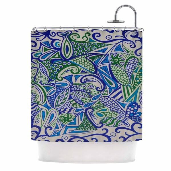 Kess InHouse Rosie Brown Blue Green Zentangle Blue Green Shower Curtain
