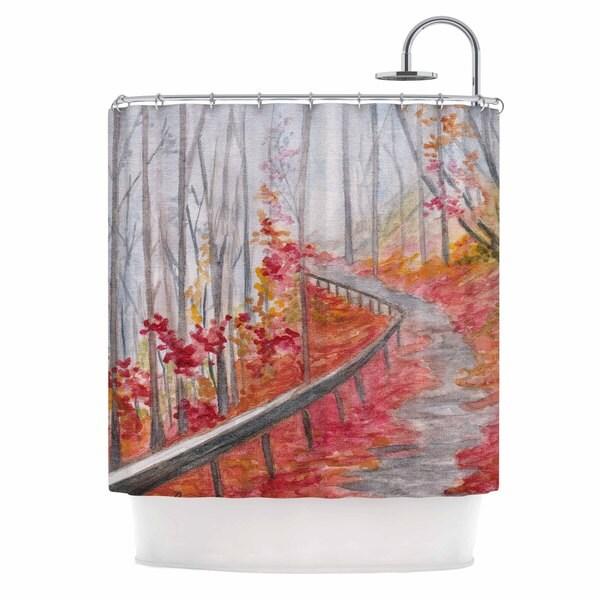 Kess InHouse Rosie Brown Amicalola Falls Orange Gray Shower Curtain