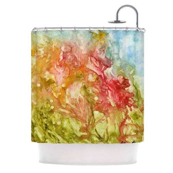 Kess InHouse Rosie Brown Fantasy Garden Yellow Painting Shower Curtain