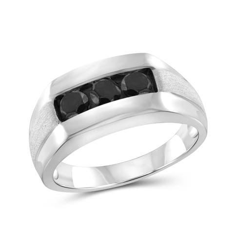 Jewelonfire Sterling Silver Men's 1.00ct Black Diamond 3-Stone Ring - White