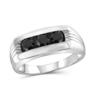 Jewelonfire Sterling Silver Men's 1.00ct TDW Black Diamond Slant Ring - White