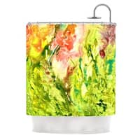 Kess InHouse Rosie Brown Green Thumb Paint Lime Shower Curtain