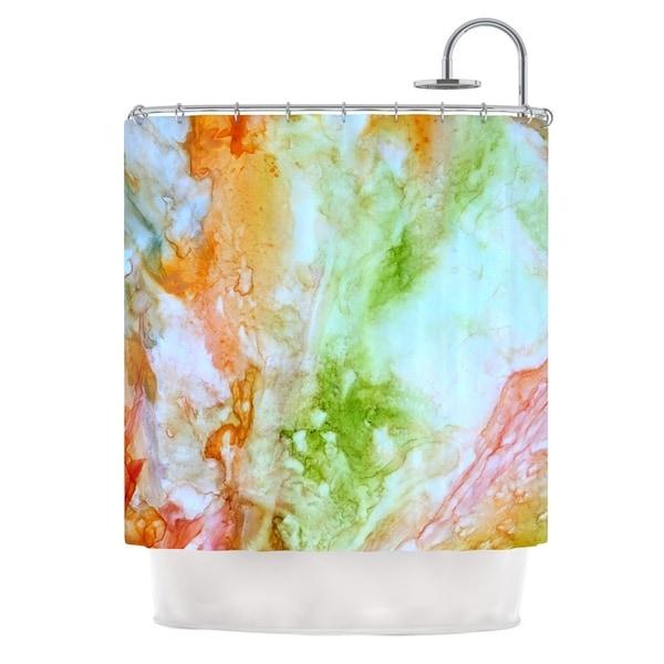 Kess InHouse Rosie Brown November Rain Green Orange Shower Curtain