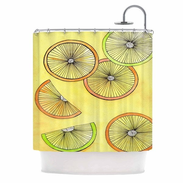Kess InHouse Rosie Brown Lemons and Limes Yellow Fruit Shower Curtain