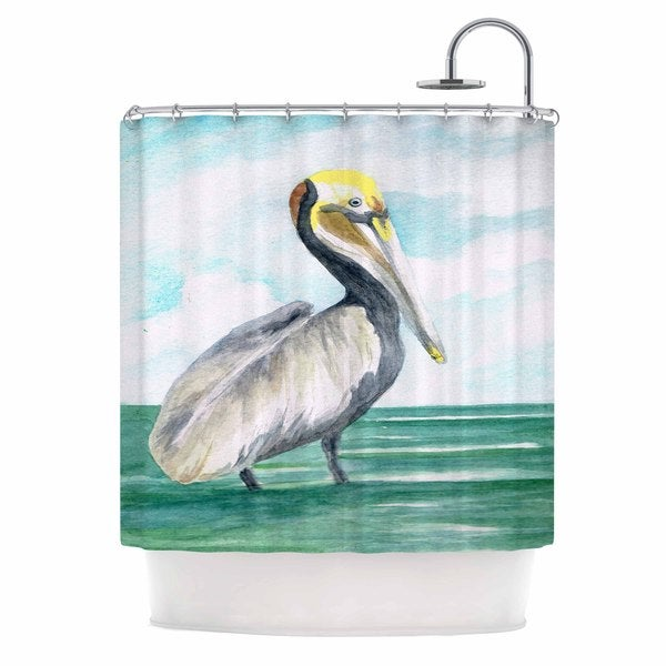 Kess InHouse Rosie Brown Pelican Coastal Watercolor Shower Curtain
