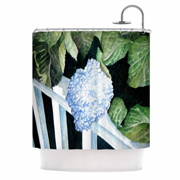 Kess InHouse Rosie Brown Hydrangea Floral Watercolor Shower Curtain