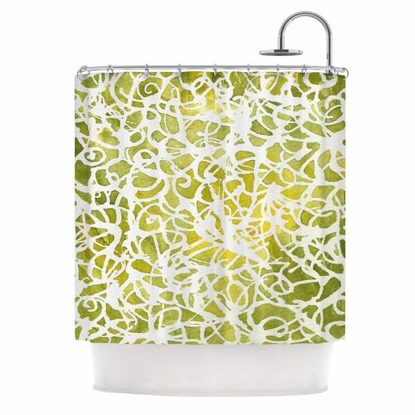 Kess InHouse Rosie Brown Spiral Green Abstract Shower Curtain