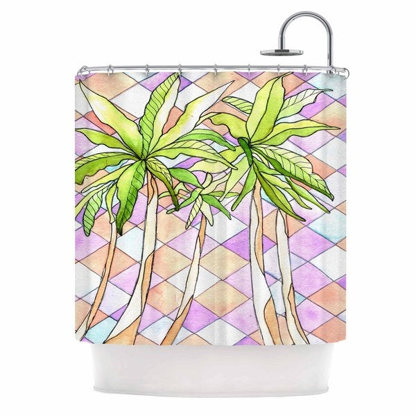 Shop Kess InHouse Rosie Brown Geometric Tropic Pink Green Shower Curtain
