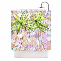 Kess InHouse Rosie Brown Geometric Tropic Pink Green Shower Curtain