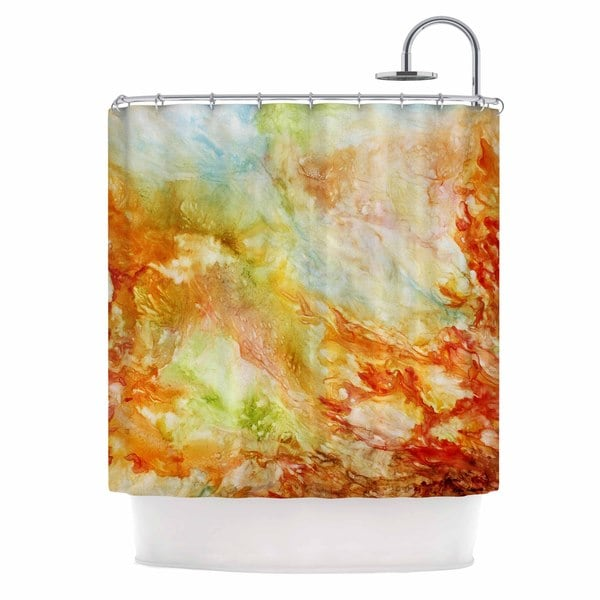 Kess InHouse Rosie Brown Autumn Breeze Orange Red Shower Curtain