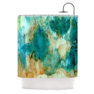 Kess InHouse Rosie Brown Waterfall Teal Blue Shower Curtain