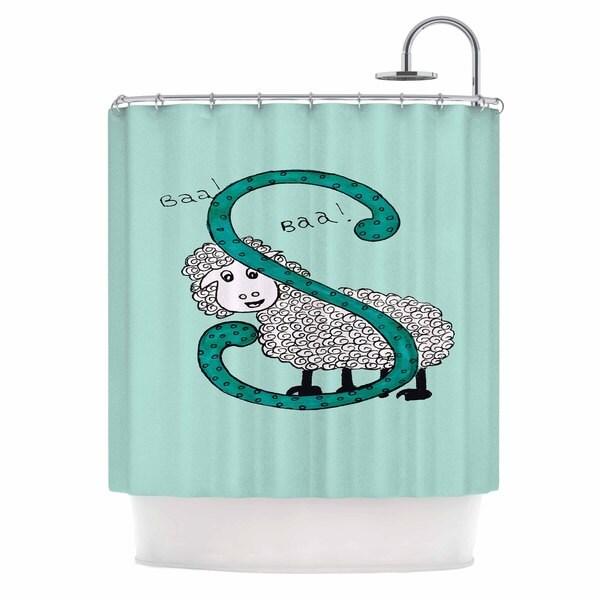 Kess InHouse Rosie Brown Sis For Sheep Blue Teal Shower Curtain