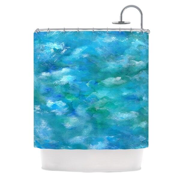 Kess InHouse Rosie Brown Ocean Waters Blue Aqua Shower Curtain