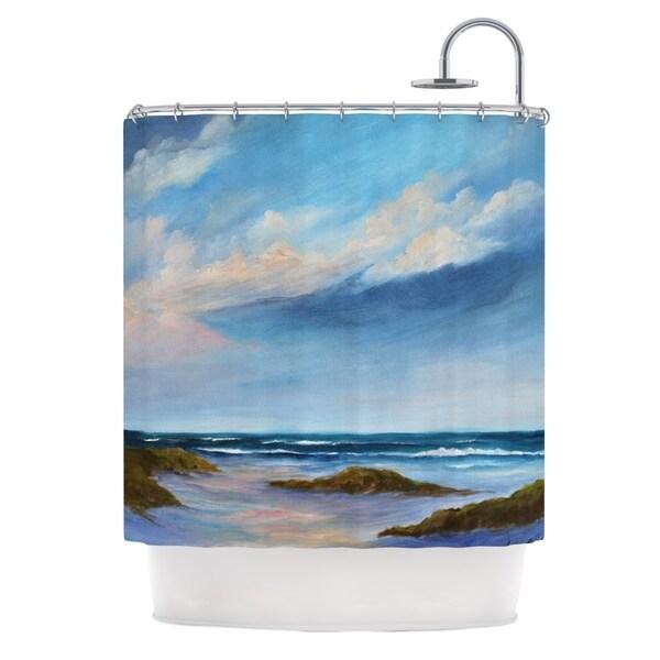 Kess InHouse Rosie Brown Wet Sand Beach View Shower Curtain