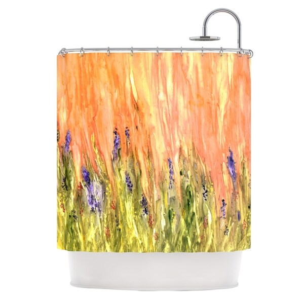 Kess InHouse Rosie Brown Welcome Spring Orange Green Shower Curtain
