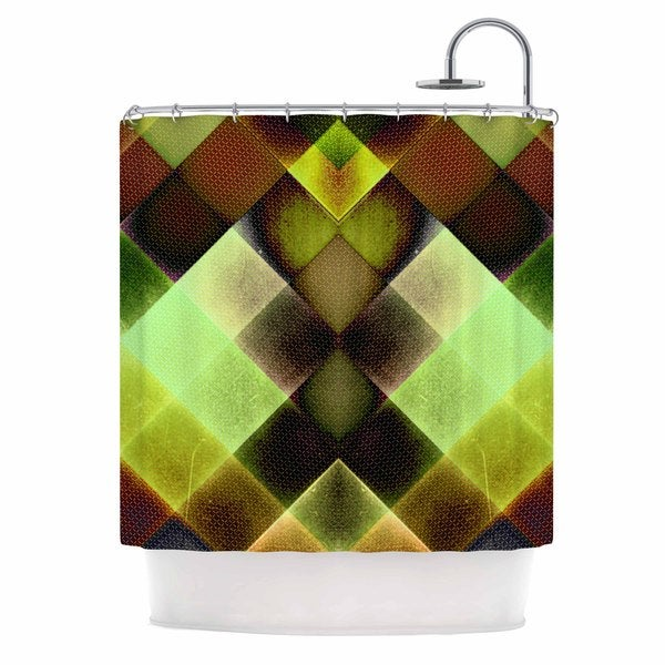 Kess InHouse Pia Schneider Colorful Squares Green Yellow Shower Curtain