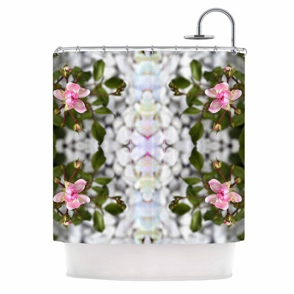 Kess InHouse Pia Schneider Roses L Pink Green Shower Curtain