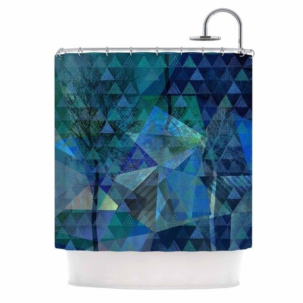 Kess InHouse Pia Schneider Triangles Blue Melange Blue Green Shower Curtain