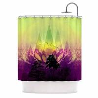 Kess InHouse Pia Schneider Trees Under Magic Mountain Yellow,nature Shower Curtain