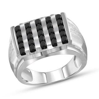 Jewelonfire Sterling Silver Men's 1.00ct TDW Black Diamond Multi-Row Ring - White