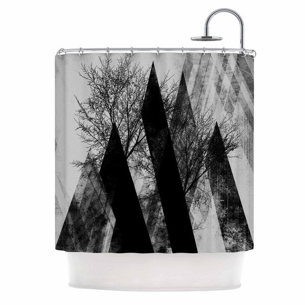 Shop Kess Inhouse Pia Schneider Trees V2 Black White Gray Shower