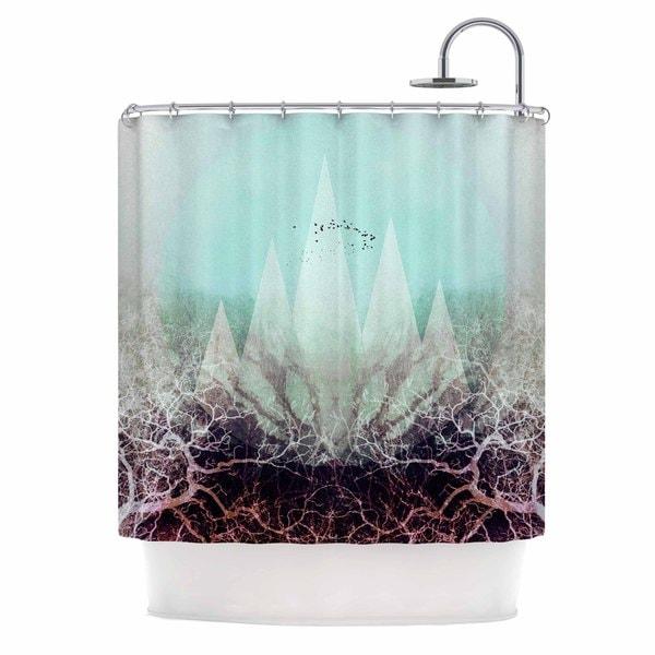 Kess InHouse Pia Schneider Trees Under Magic Mountains Vi Teal White Shower Curtain
