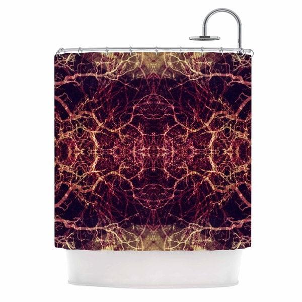 Kess InHouse Pia Schneider Burning Roots I+viii Maroon Abstract Shower Curtain