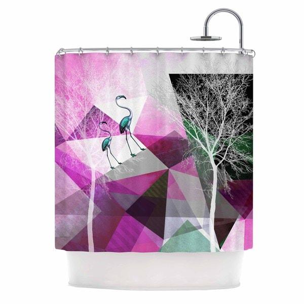 Kess InHouse Pia Schneider Flamingo P22 Pink Geometric Shower Curtain