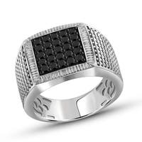 Jewelonfire Sterling Silver 1 ct Diamond Structured Design Mens Ring - White