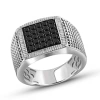 Jewelonfire Sterling Silver Men's 1.00ct TDW Black Diamond Structured Design Ring - White