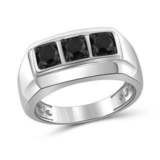 Jewelonfire Sterling Silver Men's 1.00ct TDW Black Diamond 3 Stone Journey Ring - White