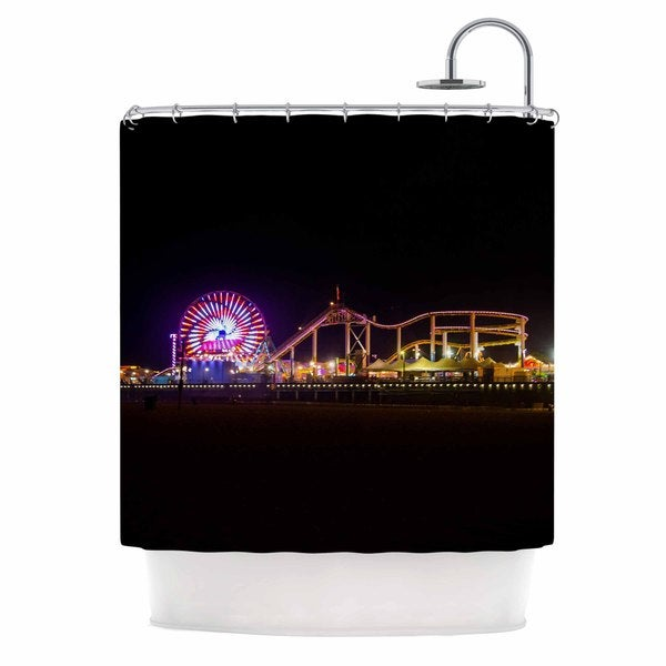 Kess InHouse Juan Paolo Santa Monica Pier Multicolor Black Shower Curtain