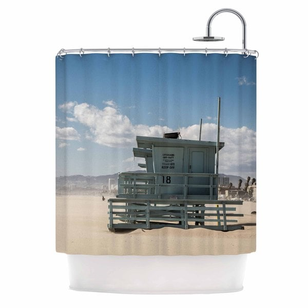 Kess InHouse Juan Paolo No Lifeguard On Duty Blue Multicolor Shower Curtain