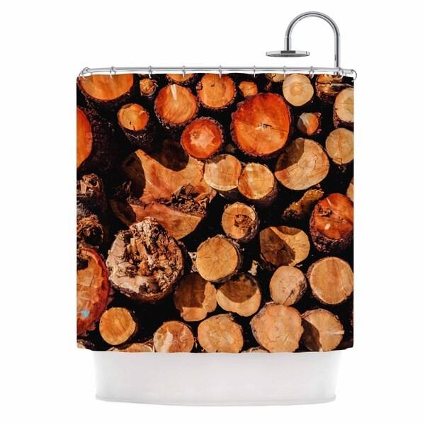 Kess InHouse Juan Paolo The Lumber Yard Brown Orange Shower Curtain