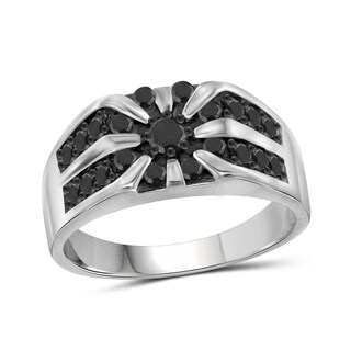 Jewelonfire Sterling Silver Men's 1.00ct TDW Black Diamond Unique Ring - White