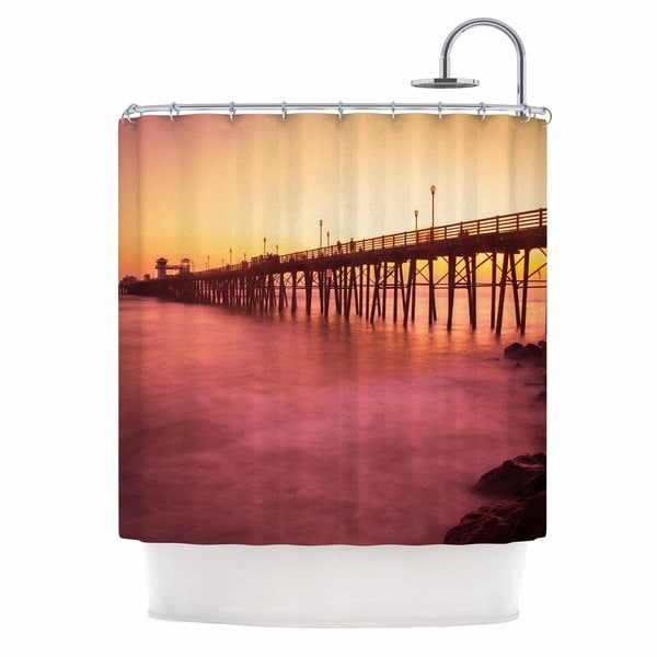 Kess InHouse Juan Paolo Ocean Dreams Gold Magenta Shower Curtain