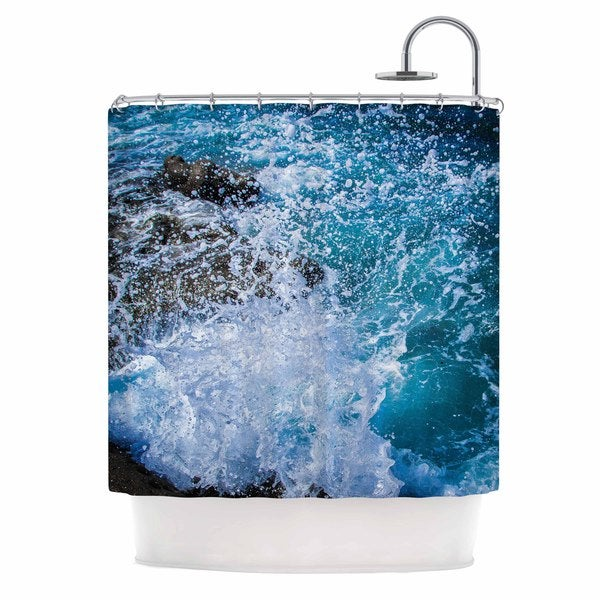 Kess InHouse Juan Paolo La Jolla Shores Blue White Shower Curtain