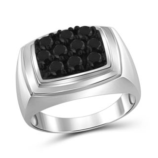 Jewelonfire Sterling Silver Men's 1.00ct TDW Black Diamond Ring