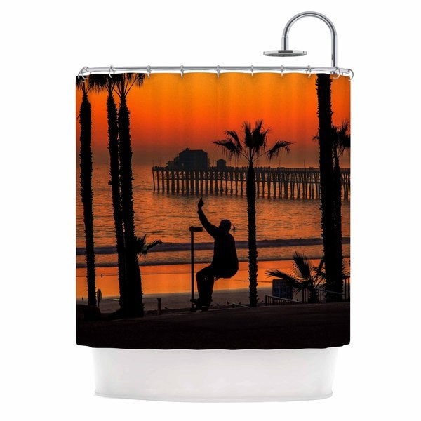 Kess InHouse Juan Paolo Endless Summer Orange Black Shower Curtain