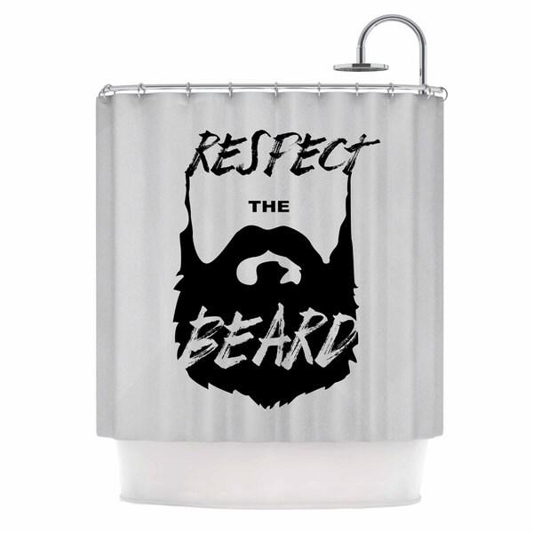 Kess InHouse Juan Paulo Respect The Beard Typography Beard Black Gray Shower Curtain