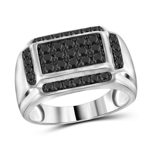Jewelonfire Sterling Silver Men's 1.00ct TDW Black Diamond Rectangle Ring - White