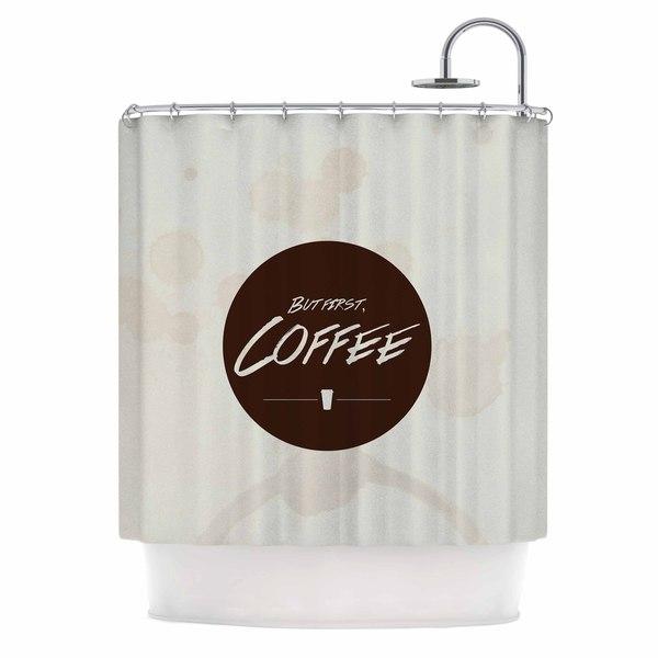 Kess InHouse Juan Paolo But First, Coffee Beige Brown Shower Curtain