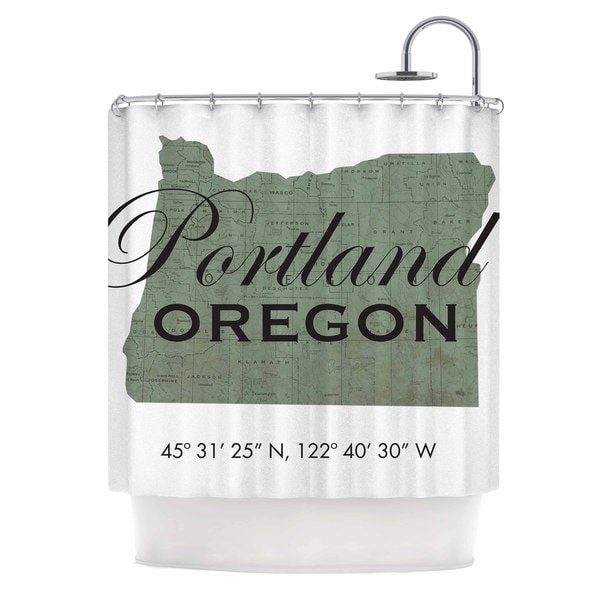 Kess InHouse Juan Paolo Portland Coordinates Green White Shower Curtain
