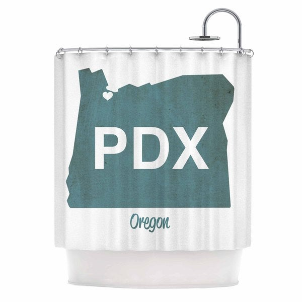 Kess InHouse Juan Paolo Pdx Teal White Shower Curtain