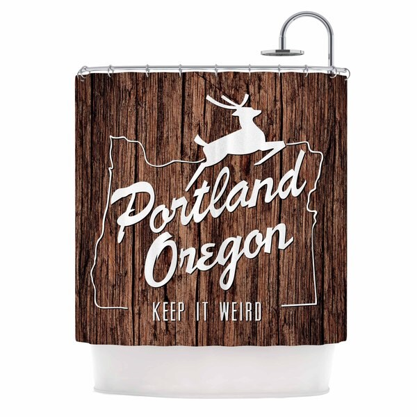Kess InHouse Juan Paolo Keep It Weird Brown Portland Shower Curtain