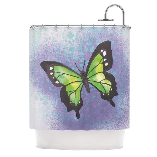 Kess InHouse Padgett Mason Lime Green Flutter Purple Lavender Shower Curtain