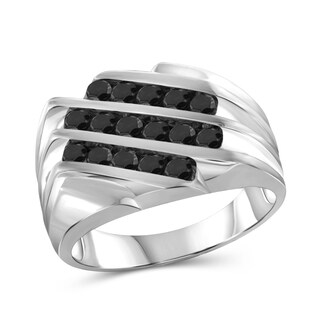 Jewelonfire Sterling Silver Men's 1.00ct TDW Black Diamond Triple Row Slant Ring - White (3 options available)