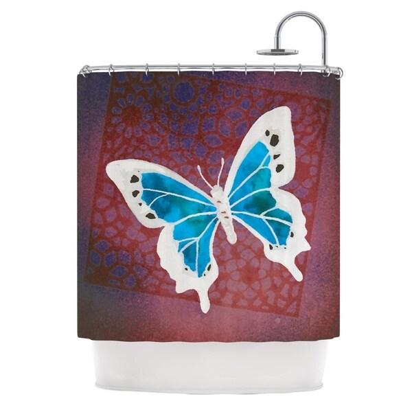 Kess InHouse Padgett Mason Teal Flutter Maroon Aqua Shower Curtain